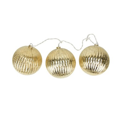 Penn 20ct Ribbed Ball Ornaments Christmas Lights Clear - 1.5' White Wire
