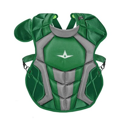 All-Star Sports S7 Axis Age 9-12 SEI Certified 14.5 Inch Baseball Softball Catcher Chest Protector with Shoulder and Throat Molded PE Plates, Green