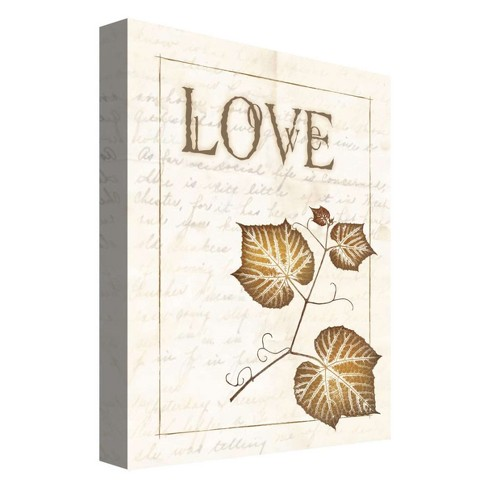 "Love Leaf Decorative Canvas Wall Art 11""x14"" - PTM Images - image 1 of 1"