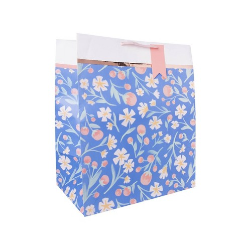 Jumbo Floral Printed Foil Bag With Tag Blue - Spritz™ - image 1 of 1