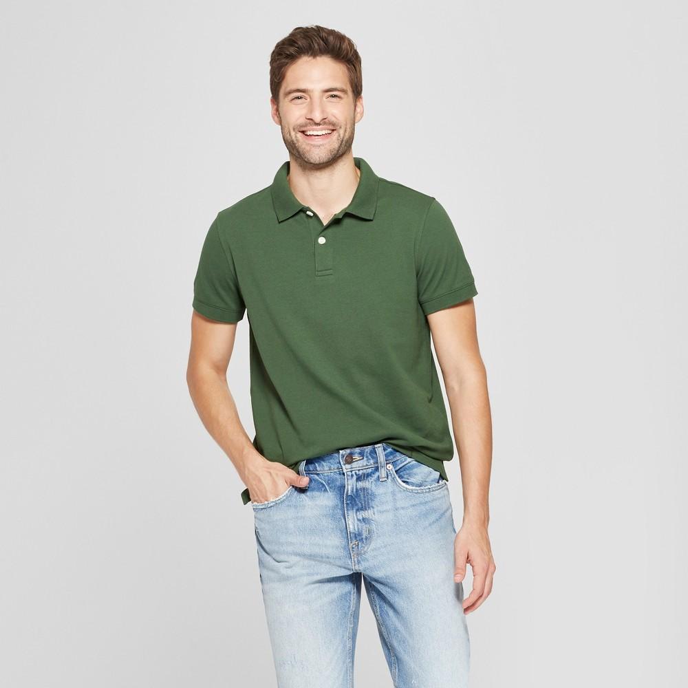 Men's Standard Fit Short Sleeve Loring Polo T-Shirt - Goodfellow & Co Banyan Tree Green S