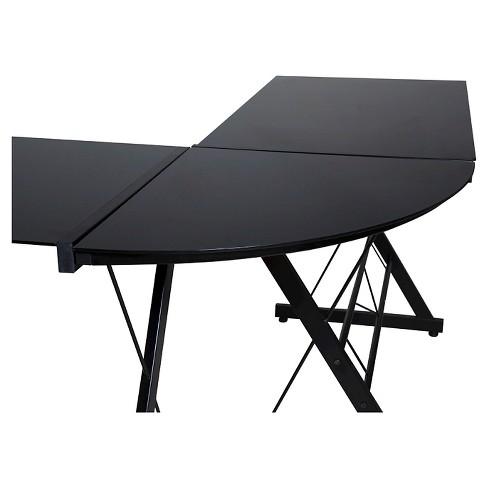 Onee 50 Jn110500 Ultramodern Gl L Shape Desk Black And Clear Target