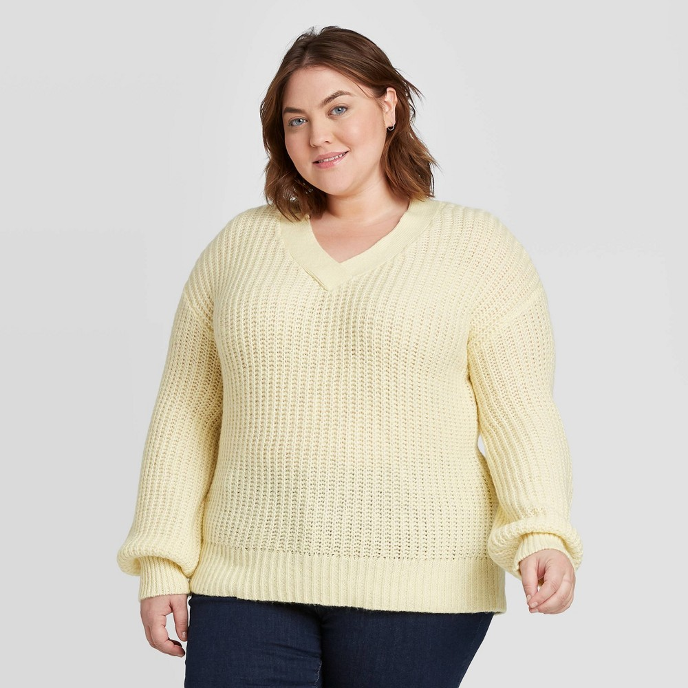 Women's Plus Size V-Neck Pullover Sweater - Ava & Viv Yellow X, Women's was $27.99 now $19.59 (30.0% off)