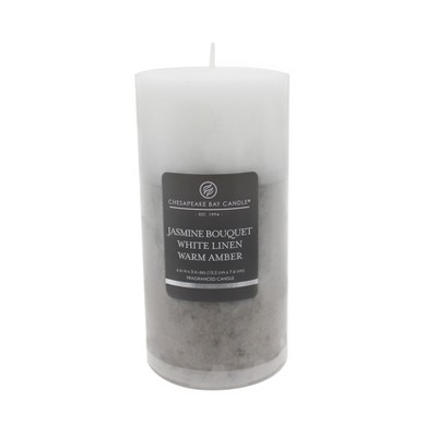 Layered Pillar Candle Jasmine Bouquet/White Linen/Warm Amber 6  - Chesapeake Bay Candle