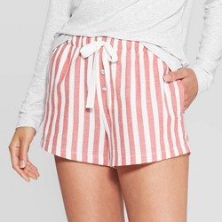 Women's Striped Perfectly Cozy Flannel Lounge Shorts - Stars Above™ Cream