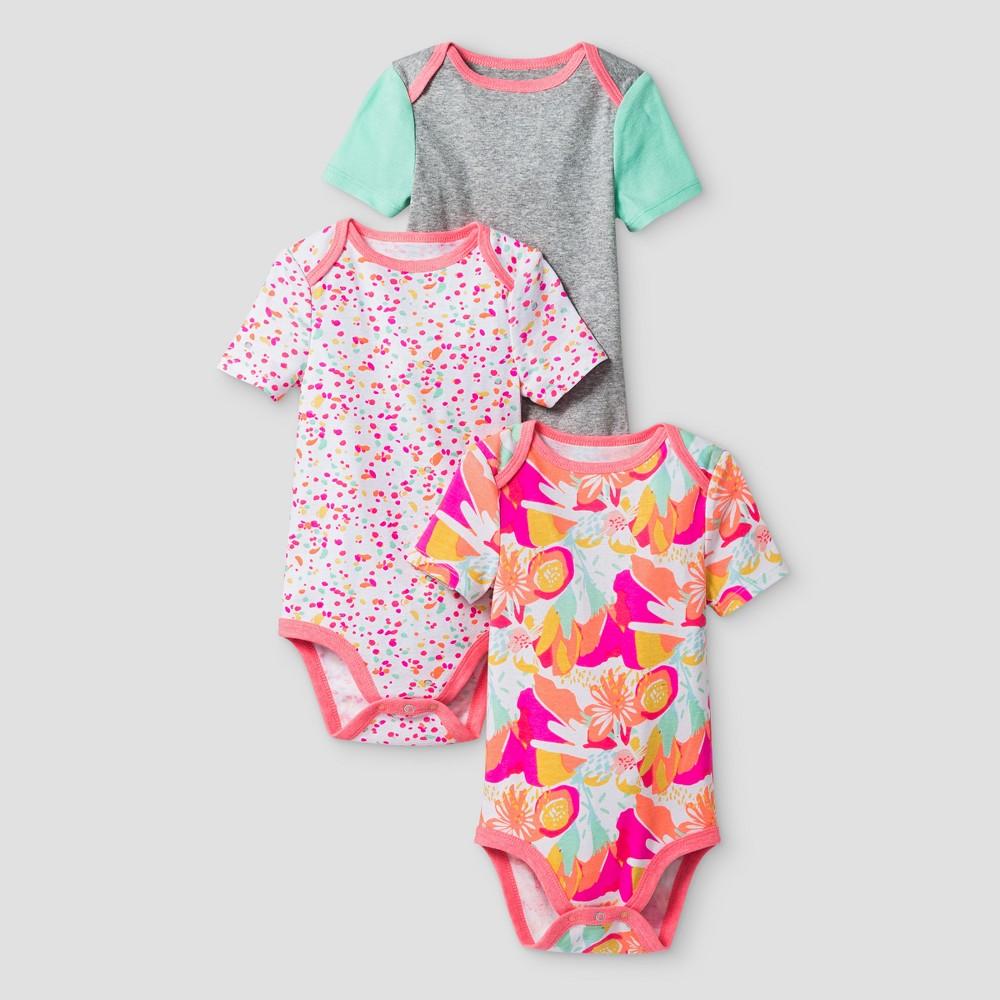 Oh Joy 174 Baby Girls Floral Dot 3pk Bodysuit Set Coral 12m