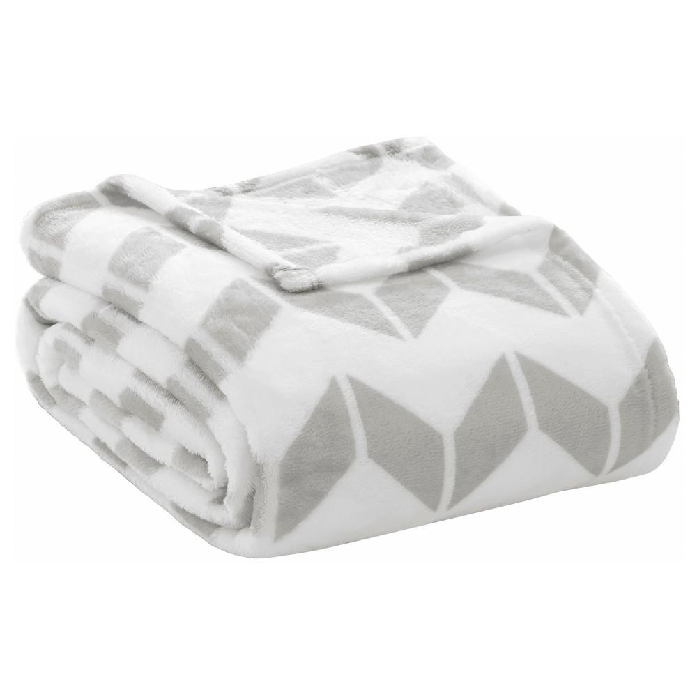 Chevron Plush Blanket (Twin/Twin XL) Gray