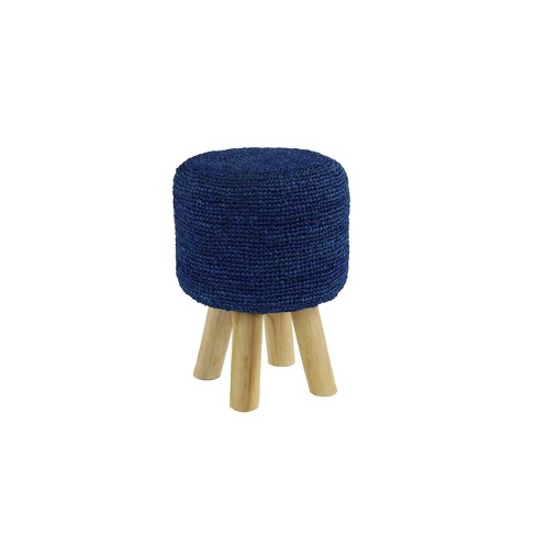 Round Teak Wood Accent Stool Blue With Brown Legs Olivia May Target