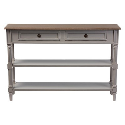 Edouard French Provincial Style Console Table With 2 Drawers   White/Light  Brown   Baxton Studio : Target