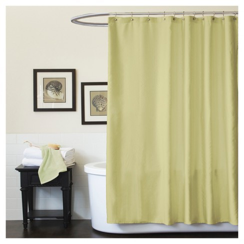 Channel Geometric Shower Curtain Green