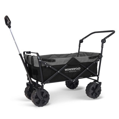 WonderFold Pull and Push Collapsible Folding Outdoor Utility Wagon with Wide Tires and Cup Holders, Telescoping Handle, Black