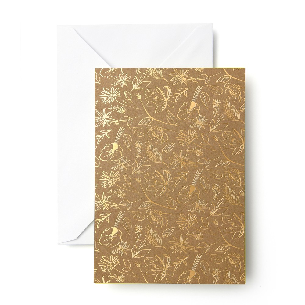 Image of 50ct Flower Print Cards Gold - Mara Mi, Gold Brown