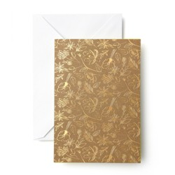 50ct Flower Print Cards Gold - Mara Mi