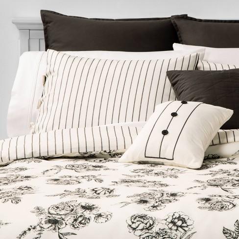 Mariella Floral Stripe 8pc Bed Set Black - image 1 of 4