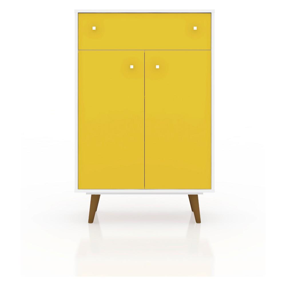 28.07 Liberty Storage Cabinet White/Yellow - Manhattan Comfort