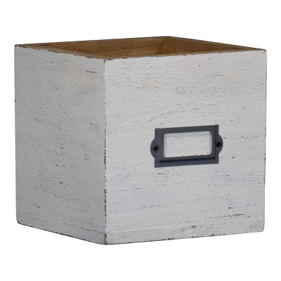 """Brushed White 6x6"""" Decorative Wood Storage Box - Foreside Home & Garden"""