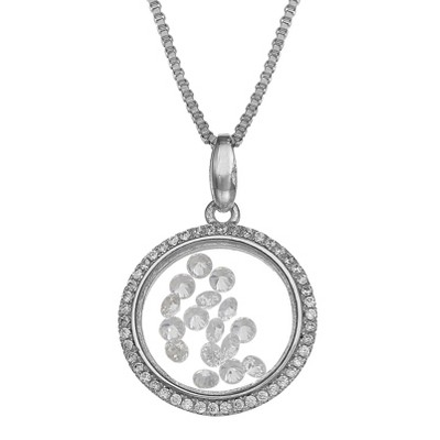 "Sterling Silver Round Locket with Floating Clear Cubic Zirconia Necklace - Silver (18"")"