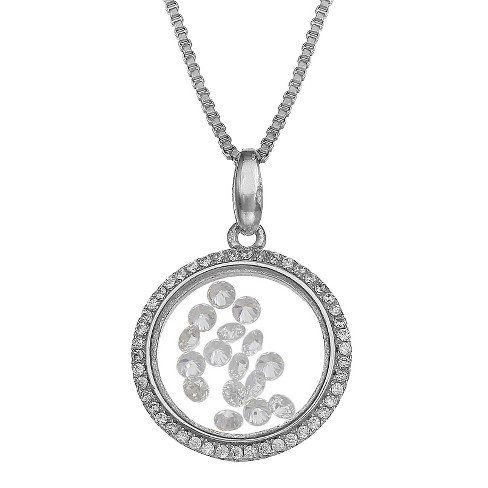 "Sterling Silver Round Locket with Floating Clear Cubic Zirconia Necklace - Silver (18"") - image 1 of 1"