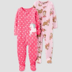 Toddler Girls' Unicorn & Corgi Fleece Footed Pajama - Just One You® made by carter's Pink