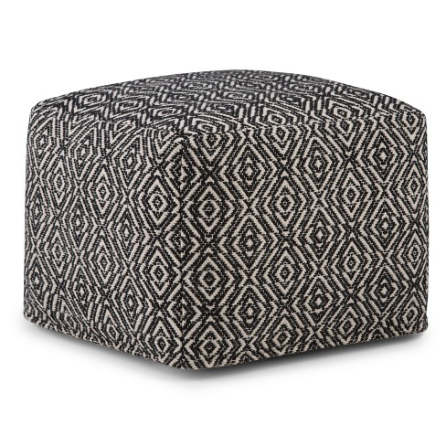 Wentworth Square Pouf Patterned Black/Natural Cotton - Wyndenhall - image 1 of 6