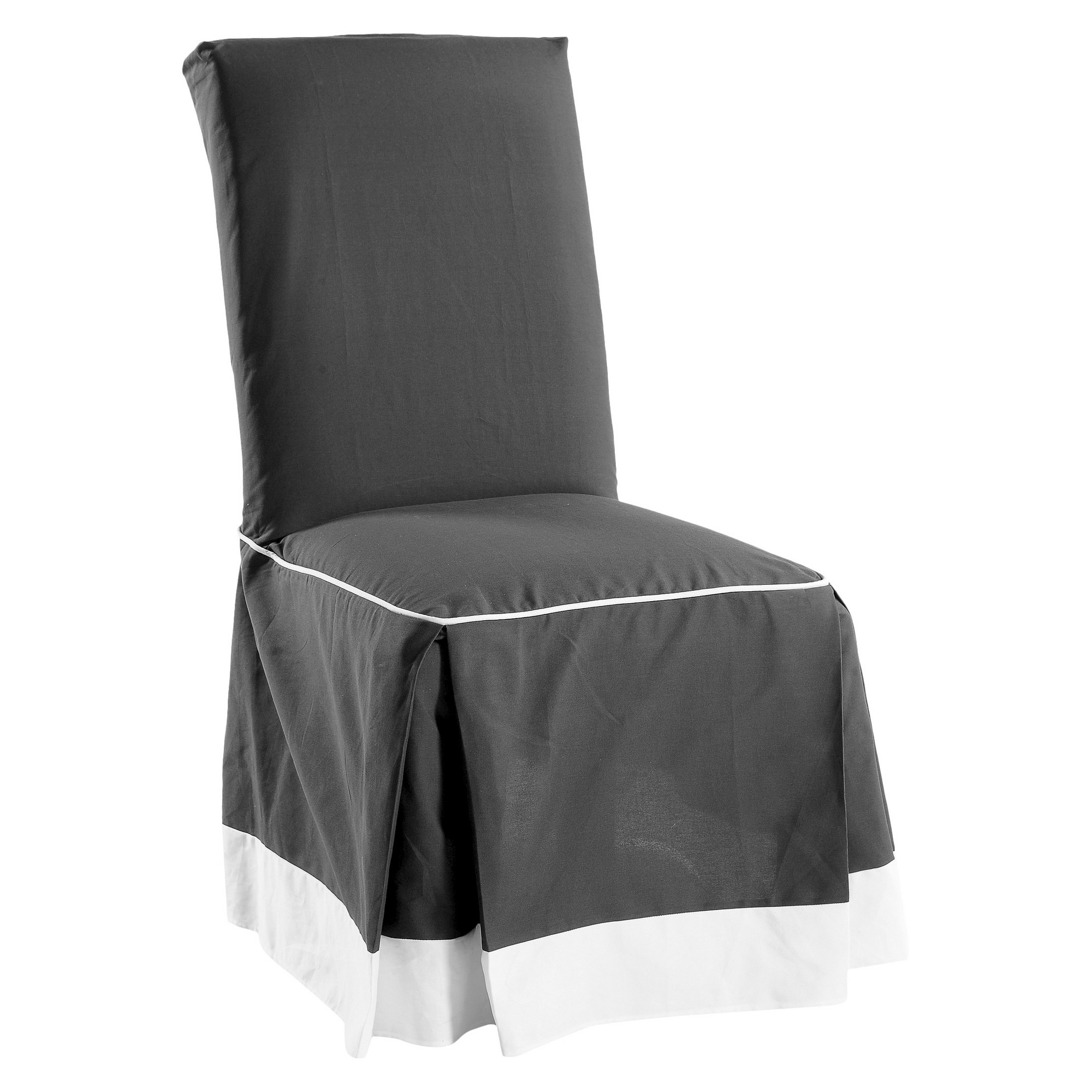 Black/White Cotton Duck Two Tone Dining Chair Slipcover