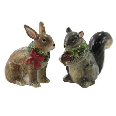 "Tabletop 3.25"" Winter Forest Salt & Pepper Set Christmas Squirrel Bunny Certified International  -  Salt And Pepper Shaker Sets"