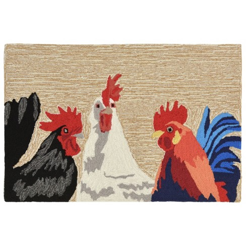 Frontporch Barnyard Roosters Accent Rug Liora Manne