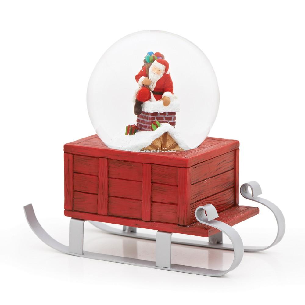 8 Santa in Chimney Musical Glitterdome - Roman, Multi-Colored