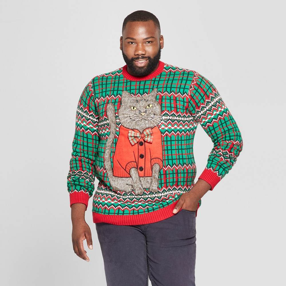 Image of 33 Degrees Men's Big & Tall Ugly Holiday Christmas Cat Bow Long Sleeve Pullover Sweater - Green 2XB