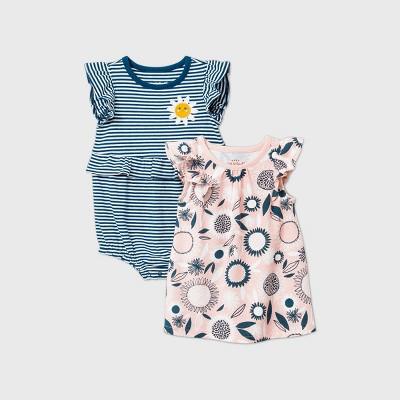 Baby Girls' Floral Dress Romper - Cat & Jack™ Blue 0-3M