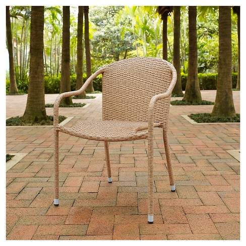 Terrific Crosley Palm Harbor Outdoor Wicker Stackable Chairs Set Of 2 Light Brown Creativecarmelina Interior Chair Design Creativecarmelinacom