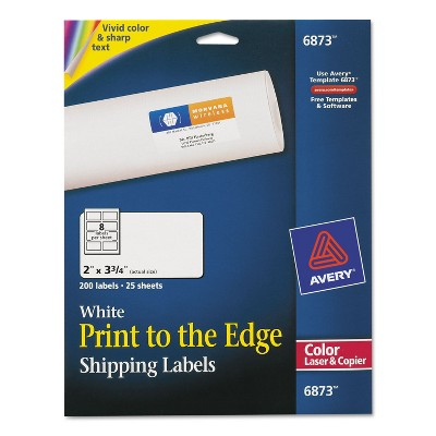Avery Vibrant Color-Printing Shipping Labels 2 x 3 3/4 White 200/Pack 6873