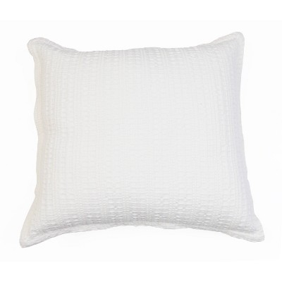 """20""""x20"""" Riley Washed Linen Flange Pillow Ivory - Décor Therapy"""