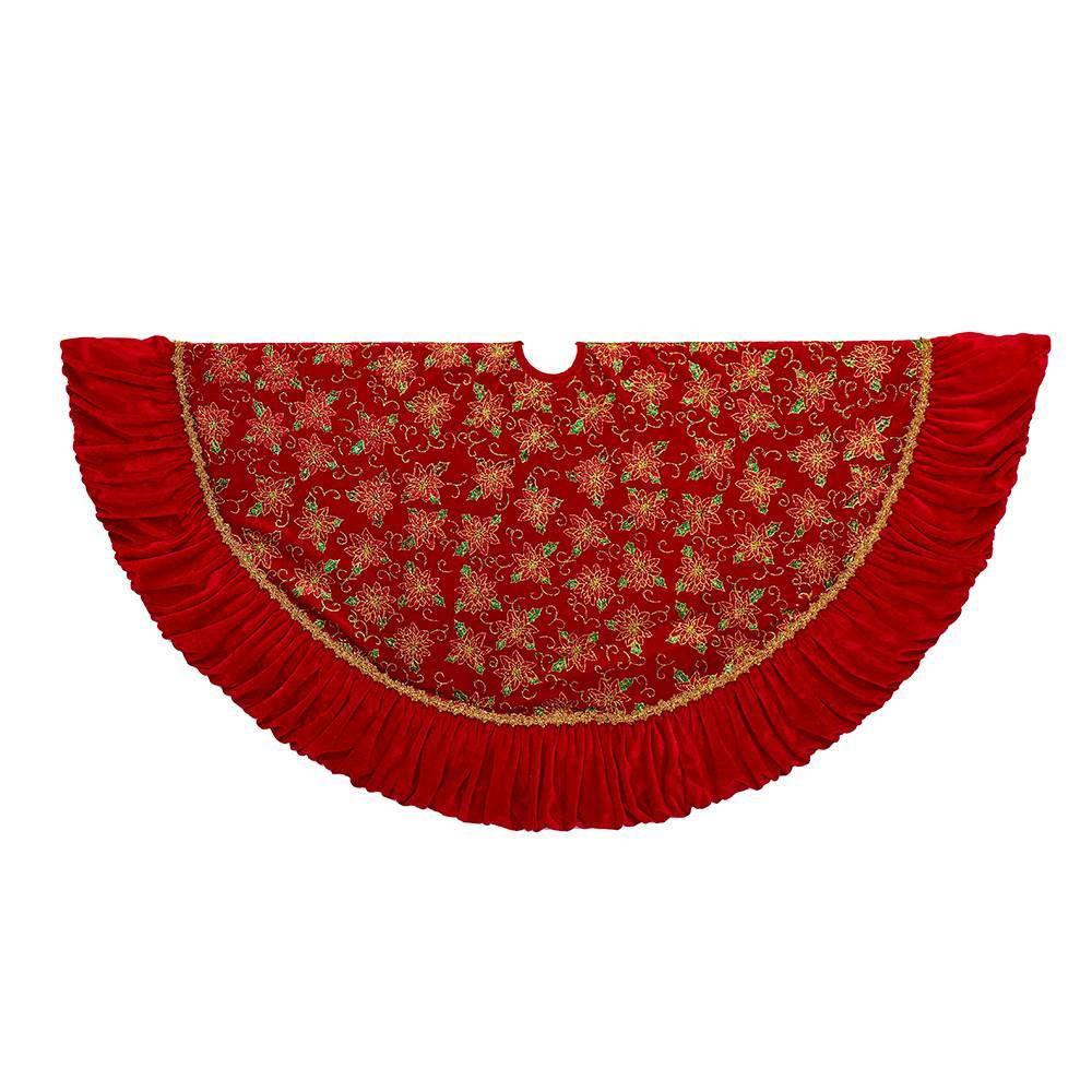 """Image of """"52"""""""" Kurt Adler Poinsettia Design Tree Skirt Red / Gold, Red Gold"""""""