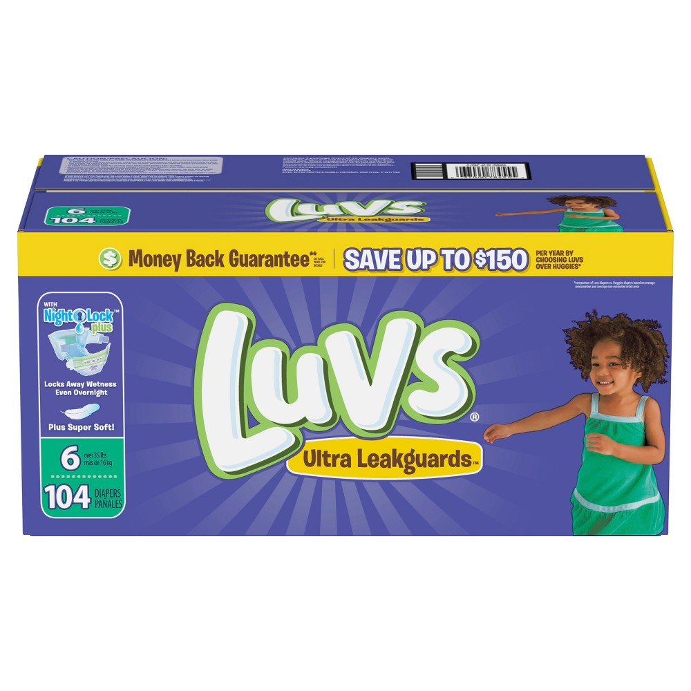 Luvs Disposable Diapers Giant Pack - Size 6 (104ct)