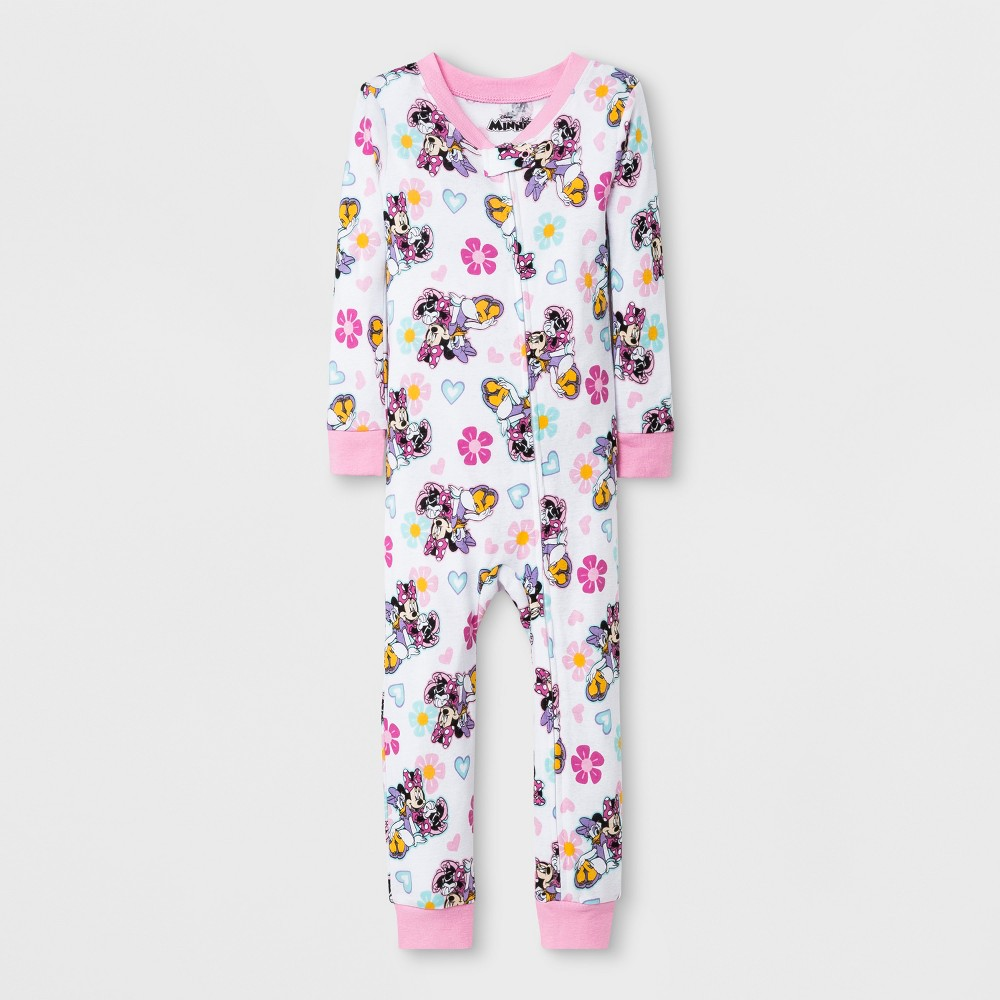 Toddler Girls' Minnie Mouse Blanket Sleeper - White/Pink 2T