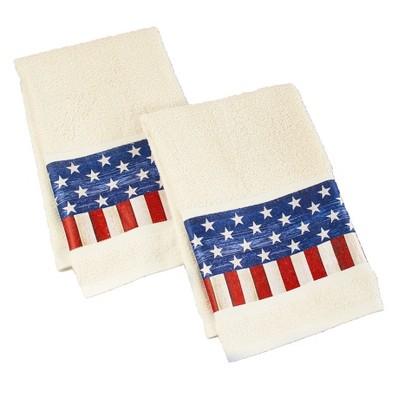 Lakeside American Flag Bathroom Hand Towels - Patriotic Restroom Accent - Set of 2