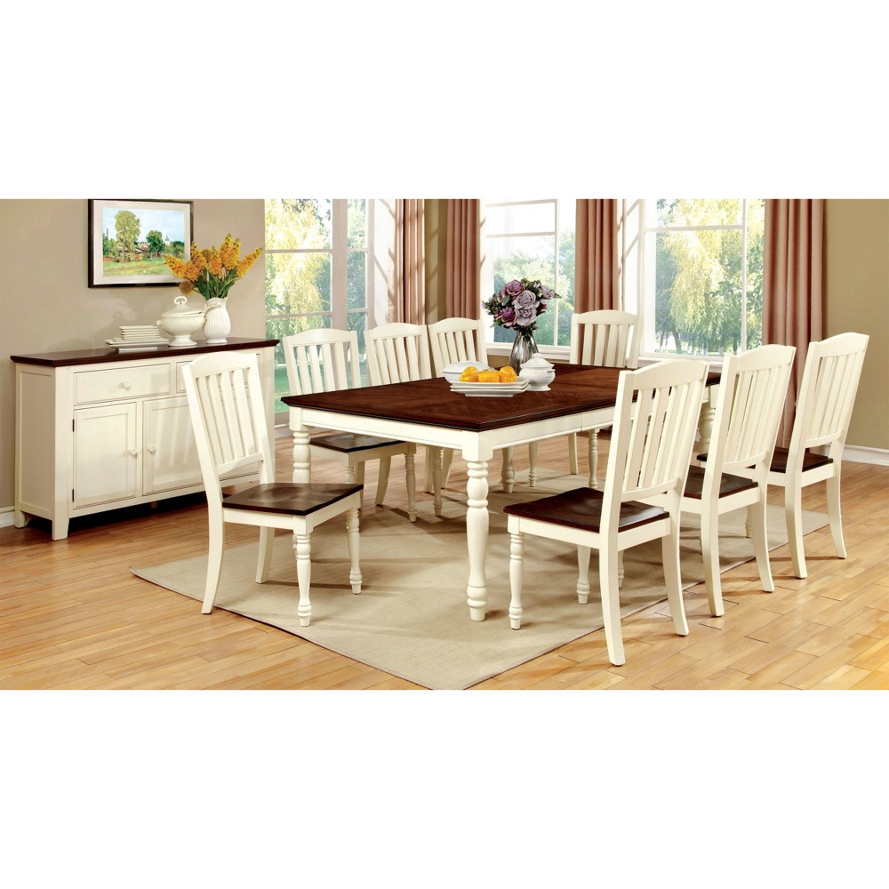 Sun & Pine Cottage Style Dining Table Wood/Vintage White And Dark Oak