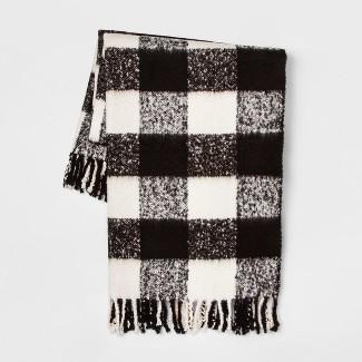 60u0022x50u0022 Faux Mohair Buffalo Check Throw Blanket Black/Cream - Threshold™