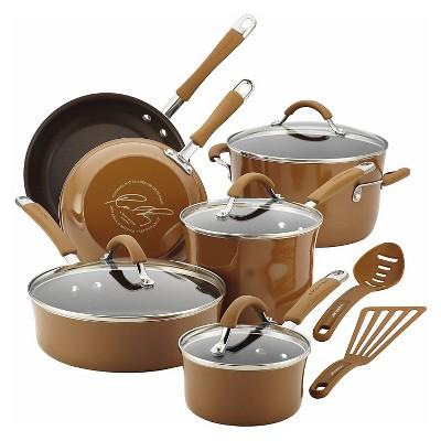 Rachael Ray 12 Piece Cookware Set - Mushroom Brown
