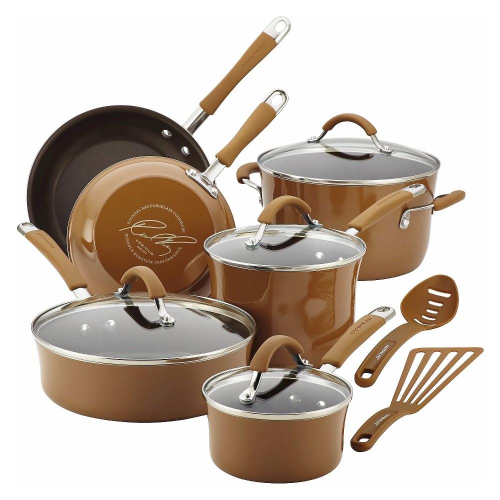Rachael Ray 12 Piece Cookware Set - Mushroom Brown, Gingerbread