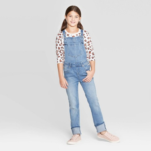 Girls' Jeans Overalls - Cat & Jack™ Light Wash - image 1 of 3