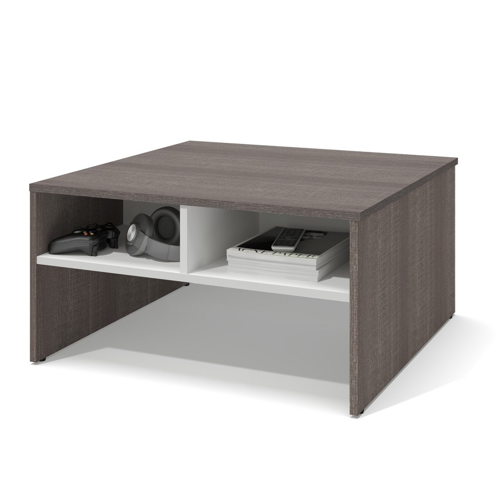 "Image of ""29.5"""" Small Space Storage Coffee Table Bark Gray/White - Bestar, Brown Gray/White"""