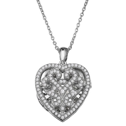 "Women's Heart Locket with Clear Cubic Zirconia Stones in Sterling Silver (18"") - image 1 of 1"