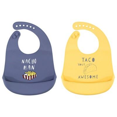 Hudson Baby Infant Boy Silicone Bibs 2pk, Nacho Man, One Size