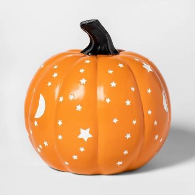 Moon/Stars Resin Pumpkin Halloween Decoration Medium Orange - Hyde & EEK! Boutique™