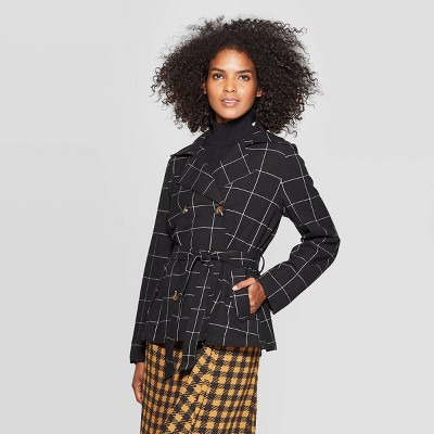 Women's Plaid Turnover Collar Front Button Down Swing Trench Jacket   Who What Wear Black by Down Swing Trench Jacket