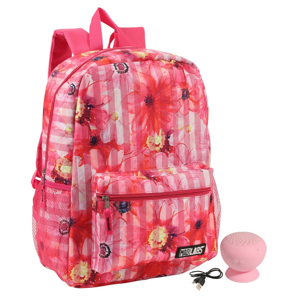 16.5 Kids' Backpack with Bluetooth Speaker - Photoreal Floral, Pink Ice