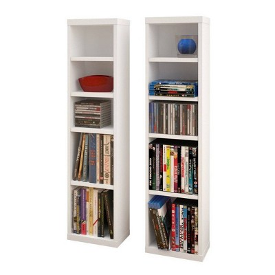 Set of 2 Liber TV CD and DVD Towers White - Nexera