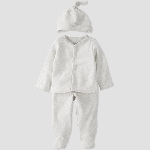 Baby 3pc Organic Cotton Top and Bottom Set - little planet by carter's Gray - image 1 of 4